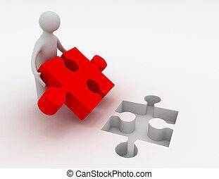 3d, homme, à, puzzle
