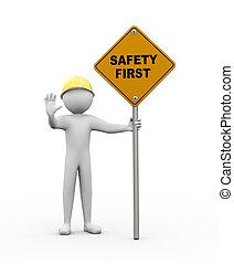 3d, homme, à, sûreté abord, panneaux signalisations