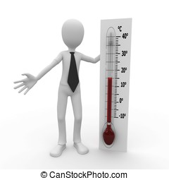 3d, homme, à, thermomètre