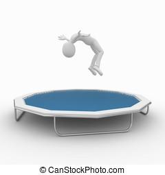 3d, homme, à, trampoline
