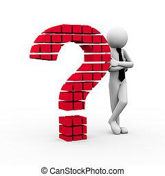 3d, homme affaires, et, point interrogation, symbole