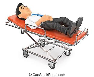 3d, homme affaires, mensonge, sur, a, brancard, dans hôpital