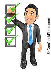 3d, homme affaires, remplissage, a, liste contrôle