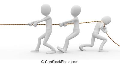 3d, homme, business, à, corde