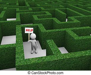 3d, homme, dans, haie, labyrinthe, demander aide