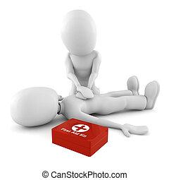 3d, homme, fournir, premiers secours, soutien