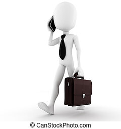 3d, homme, homme affaires, conversation, à, sien, nouveau,...
