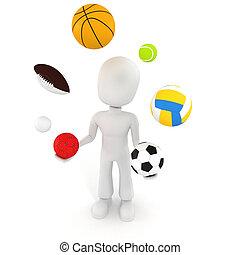 3d, homme, jouer, à, différent, sport, balles