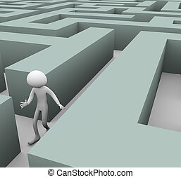 3d, homme, perdu, dans, labyrinthe