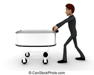 pousser chariot homme rendu achats sur pousser illustration de stock rechercher. Black Bedroom Furniture Sets. Home Design Ideas