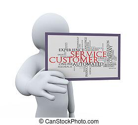 3d, homme, projection, service clientèle
