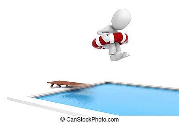 3d, homme sauter, dans, a, piscine