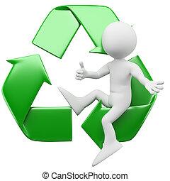 3d, homme, symbole, recyclage