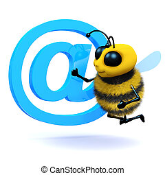 3d Honey bee has an email address symbol - 3d render of a...