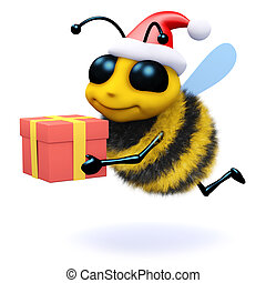 3d Honey bee holding a Christmas gift - 3d render of a bee...