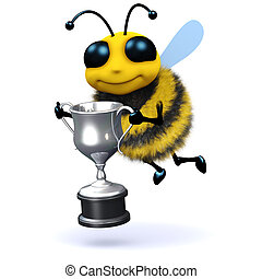 3d Honey bee holding a silver trophy - 3d render of a bee...