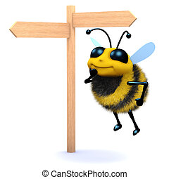 3d Honey bee looks at the roadsign
