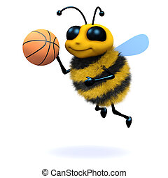 3d Honey bee playing basketball - 3d render of a bee playing...