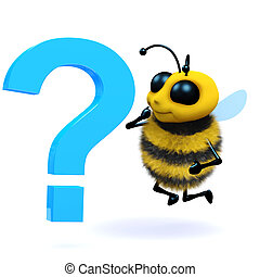 3d Honey bee question mark - 3d render of a bee next to a...