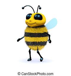 3d Honey bee walking - 3d render of a bee walking