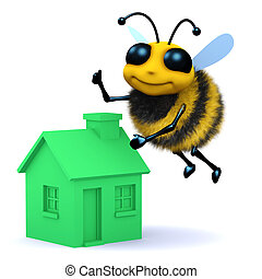 3d Honey bee with a green house - 3d render of a bee flying...