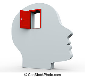 3d, hoofd en, open deur