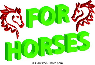 3D horse head on white background with text. Vector illustartion.