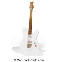3d hot melting guitar on white background