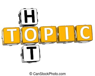 3D Hot Topic Crossword over white background