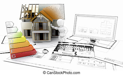 3D house and computer with plans - some in sketch phase