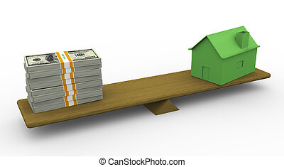 3d house and dollar on scale