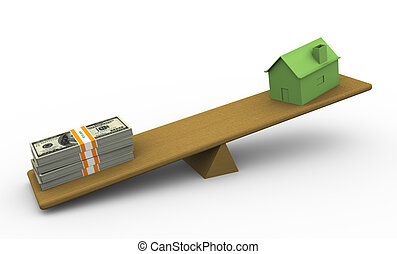 3d house and dollar - 3d green house and dollar packs on...