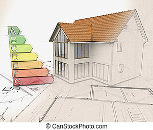 3D house and energy ratings with half in sketch phase