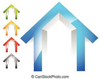 3d house, home symbols, house icons. 5 colors