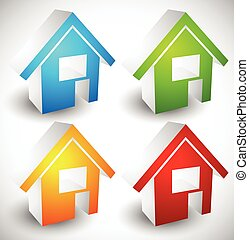 3d house / home symbols, icons in 4 colors, illustration for real estate, housing