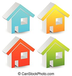 3d house icons in various colors. editable graphics.