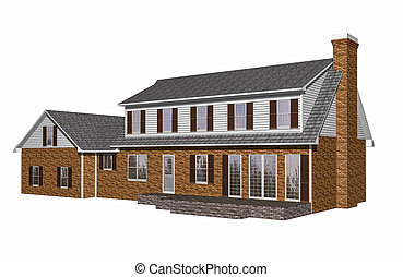 3D House illustration on a white background