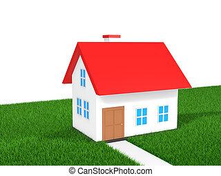 3D house in green grass