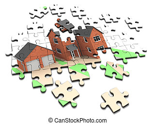 3d House jigsaw puzzle - 3d render of an unmade jigsaw...