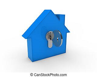 3d house key blue