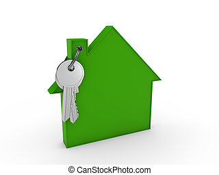 3d house key green