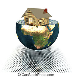 3d house model on the half of the earth