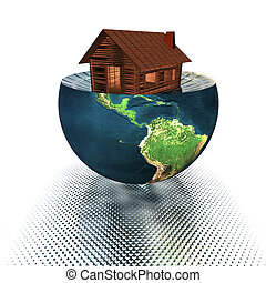 house model on the half of the earth