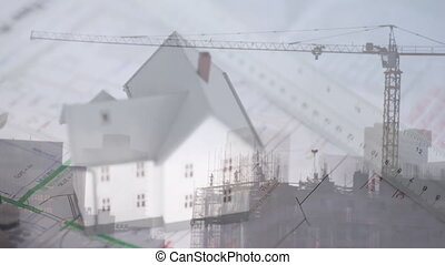 3D house model with a construction crane