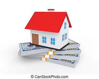 3d house on money stacks