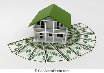 3d house on Pile of money. Conception of growth of mortgage ...