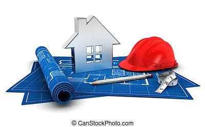 3d house project, with blueprint,helmet,pencil,steel house...