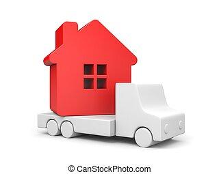 3d, house., resettlement., render, rood