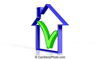 3D house shape/ check-mark, white background