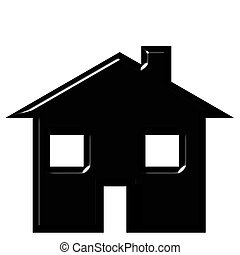 3D House Silhouette - 3d house silhouette isolated in white
